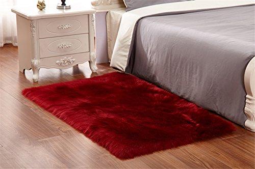 Sweetwill Faux Lammfell Schaffell Teppich 50 x 150 cm Modern Wohnzimmer Teppich Flauschig Lange Haare Fell Optik Gemütliches Schaffell Bettvorleger Sofa Matte (Rot)