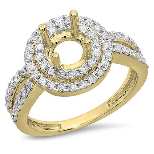 DazzlingRock Collection - 14 Kt Gelbgold Rund Leicht Getöntes Weiß/Crystal (J) Weißer Diamant