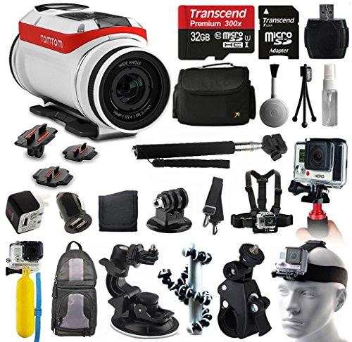TomTom Bandit 4K HD Action Kamera + All You Need 32GB Zubehör Kit mit 32-GB-Karte + Case + Selfie Stick + Brust/Kopf Gurt + Auto/Fahrrad Halterung + Rucksack + Reise Ladegerät + mehr.