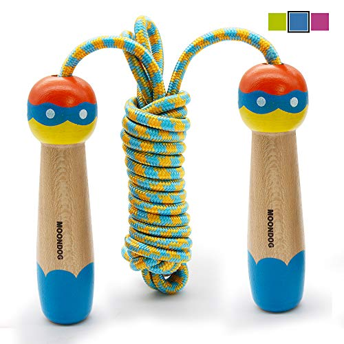 SPECOOL Springseil Kinder, 3M Springseil Einstellbar Baumwolle mit Cartoon Holzgriff für Fitnesstraining