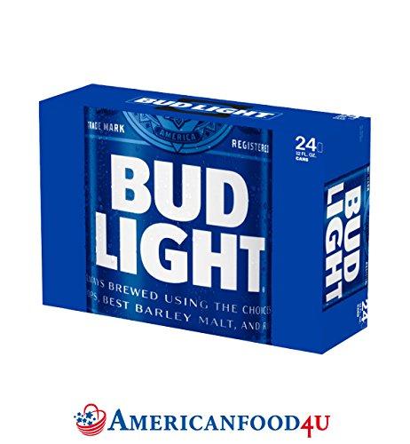 AMERICANFOOD4U® Biere - Bud Light | 24er Pack Dosen / Cans | 24 x 355ml amerikanisches Bier | Die Original Importware aus den USA als perfektes Geschenk für Männer | Das No. 1 Beer aus Amerika - Für Deine amerikanische Grillparty, dein Barbecue (BBQ) mit Freunden oder als perfektes Getränk für die nächsten NFL, NBA oder MLB Playoffs | Das USA Spitzenbier für und aus aller Welt - Jetzt bei Dir zu Hause! [+GRATIS Dosenkühler]