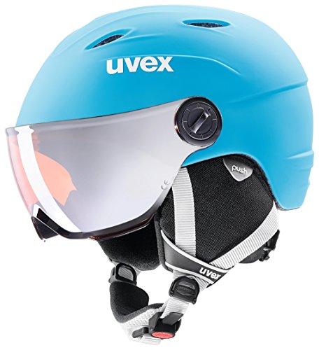 Uvex Kinder Skihelm Junior Visor Pro LiteBlue-white Mat, 46-52 cm