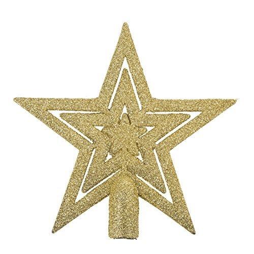 Robelli 20cm Glitter Star Christmas Tree Topper Decoration Ornament (Gold)