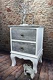 Livitat® Nachttisch Nachtschrank Nachtkonsole Nachschränckchen Nachtkommode Weiß Shabby Chic barock LV1115 (2 Schubladen)