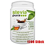 steviapura | Stevia Tabs, Zuckerersatz in der günstigen Nachfüllpackung, wiederverschließbar - 1200 Tabs + Gratis Dos