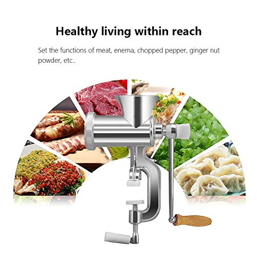 CWeep Manual Tinned Meat Grinder,Commercial Grade Grain Grinder with High Hopper Attachment Fit Kitchen Aid Stand Mixers (5PCS/Set)