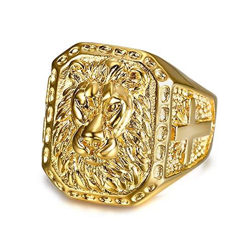 f92d3f2d4dab BOBIJOO Jewelry - Gran Anillo de sellar del Hombre de Cabeza de León de  Acero Inoxidable