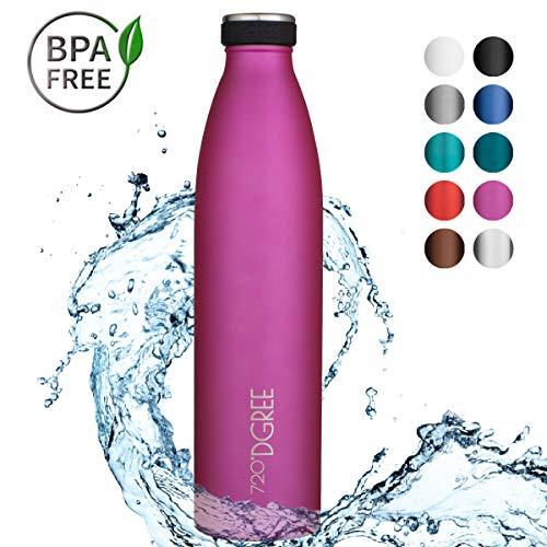 "720°DGREE Borraccia Acqua Termica \""milkyBottle\"" - 1 litro, Fucsia, Pink | Bottiglia Acciaio Inox Isolamento a Vuoto | Senza BPA"