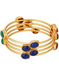 Archi Collection Traditional Ethnic Gold Plated Antique Look Bracelets Bangle Set Wedding Jewelry For Women And...