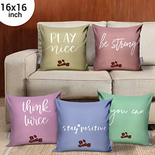 TIED RIBBONS Set of 5 Printed King Size Home Decor Cushion Covers 16 Inch X 16 Inch for Wooden Sofa, Living Room, Bedroom (Multicolor)