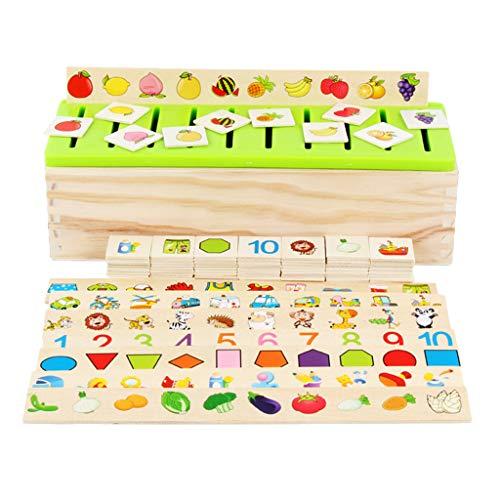 perfk 80pcs Cartes Boîte de Tri en Bois Cognition Puzzle Comprend Chiffres,Formes, Fruits, Légumes, Animaux, Moyens de Transport,etc