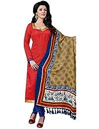 Likeable Red Bhagalpuri Silk Straight Suit With Dupatta.