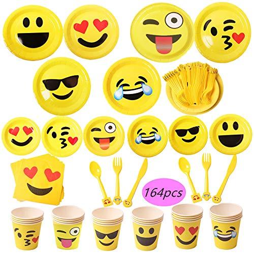 164-teiliges Emoji-Partyzubehör-Set - 17,8m und 22,9cm Emoji-Pappteller, Emoji-Pappbecher, Servietten, Emoji-Besteck, reicht für 24 Personen (Jahr Alt Geburtstag Party-themen Ein)