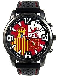 España Naval Jack Flag Reloj para hombre con correa de silicona