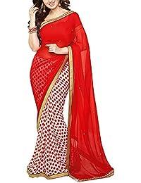 Angel Fashion Studio Women's Georgette Saree (Red)