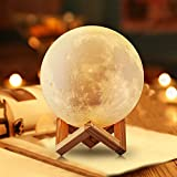 #4: Moon Lamp Lighting Night 12cm Light LED 3D Printing projector, Moon Lamp, Warm and Cool White Dimmable Touch Control Brightness 3000K/6000K with USB Charging, Rechargeable Home Decorative Light