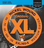 D'Addario EXL160-5 XL Nickel Wound Medium  (.050-.135) 5-String Electric Bass Guitar Strings
