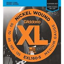 D'Addario EXL160-5 - Juego de cuerdas para bajo eléctrico de níquel, .050 - .135