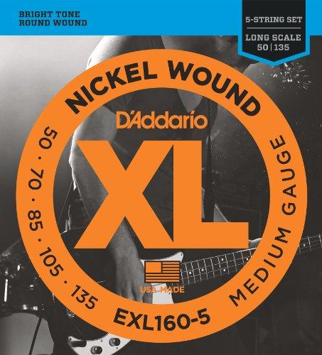 D'Addario EXL160-5 - De níquel, .050 - .135