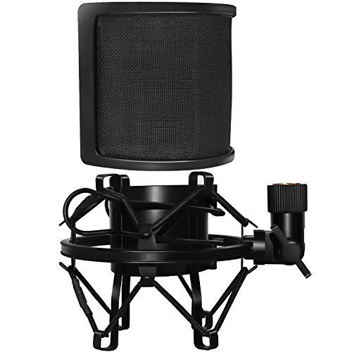 Filtro pop micrófono & Soporte micrófono Antivibraciones,PEMOTech Antivibración micrófono metal clip y metal aislamiento acústico capa filtro pop Máscara Equipado con adaptador de tornillo de metal para emisión de radio, doblaje y grabación