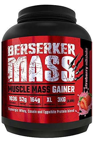 Berserker Mass Gainer // Muscle Mass Gainer Protein Pulver // Erdbeere Milkshake // 12 Portionen // 3 kg - Pro Stärke Gainer