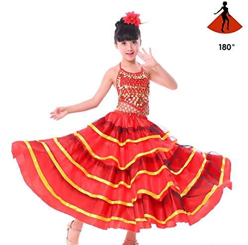 SMACO Spanisches Kostüm Mädchen Rot Langer Flamenco Rock Gesellschaftstanz Rock für Kinder Mädchen Bauchtanz Rock für Kinder,180°,L (Spanischer Tanz Kostüm Kinder)