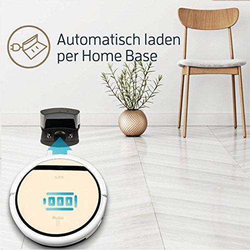 ILIFE V5s Pro Saugroboter mit Wischfunktion | automatischer Staubsauger Roboter | 2in1 nass Wischen oder Staubsaugen | für Hartböden | benetzt bis zu 180qm | Fallschutz | beutellos | mit Ladestation - 6