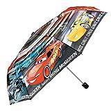 Disney Cars Kinder Schirm für Jungen - Taschenschirm mit Lightning McQueen - Leichter Kompakter und Windfester Regenschirm - 7+ Jahren - Durchmesser 91 cm - Perletti