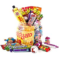 Retro Favourites Sweet Jar by Chewbz, filled with classic sweetshop sweets including drumstick lollies, sherbet fountains and more. A perfect birthday present for retro sweet fans.