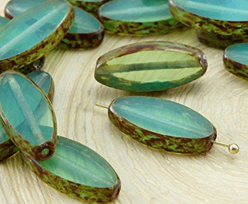 6pcs Picasso Marron Turquoise de Soie Vert d'Opale Ovale et Plate de Pétales de Table à la Fenêtre de Coupe tchèque Perles de Verre 18mm x 7mm