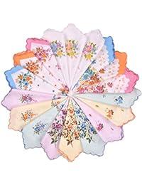 Milesky Mouchoirs Femme Floral Imprimé Bord de Pétoncles Coton Assortiment de 12 unités
