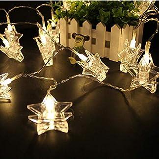 Clip cadena de luces LED – 40 Fotoclips 5M plana Betri batería Bildleuchten LED para la ración decorativos colgantes de fotos, notas, ilustraciones