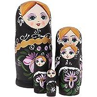 Fenteer 5-TLG Russische Matrjoschka, Mädchen Matroschka, Babuschka, Steckpuppe Puppen Spielzeug Dekoration