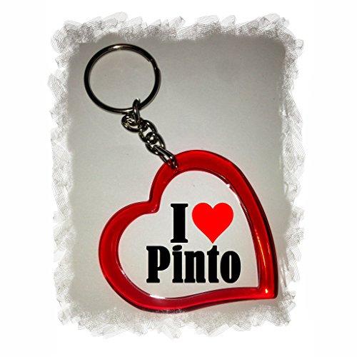 Druckerlebnis24 Herzschlüsselanhänger I Love Pinto, eine tolle Geschenkidee die von Herzen kommt| Geschenktipp: Weihnachten Jahrestag Geburtstag Lieblingsmensch