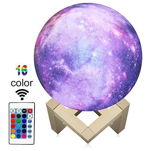 3D Printing Moon Lampe Lune Lumière 3D Pour Les Enfants Lumière De Nuit 16 Couleurs Changer Et Télécommande Star Dedside Lampe Comme Un Cadeau D'anniversaire Idées De Garçons Ou De Filles De 6 Pouces.