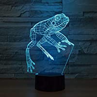 Visual Lamp,Frog Night Light 3D Lamp Toy Cartoon Gift 7 Colors Change Table Desk Lamp Nightlight Child Kids Loved Party Office Decor Acrylic Halloween Christmas 3D Night Light