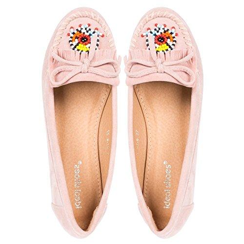 Ideal Shoes, Damen Slipper & Mokassins Rosa