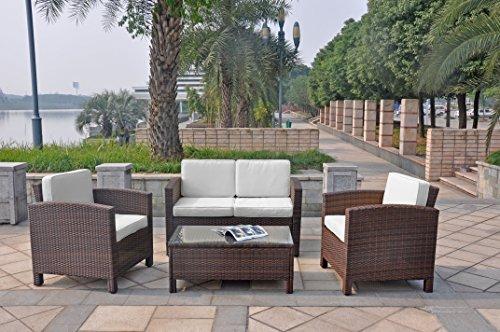 13tlg. Deluxe Lounge Set Gruppe Garnitur Gartenmöbel Loungemöbel Polyrattan Sitzgruppe – handgeflochten – braun-mix von XINRO® - 5