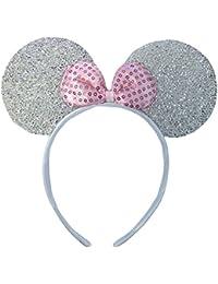 Pink oder Silber Glitzernden Minnie Maus Ohren Kostüm Haarband