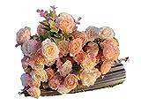 Flores Artificiales Roses Decoración Hogar Jardín Hotel Tienda Ideal para la Boda Fiestas Eventos (Amarillo, Pack 3 Ramos)