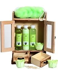 BRUBAKER Cosmetics - Coffret de bain - Aloe vera - 10 Pièces - Armoire en Bois - Idée cadeau
