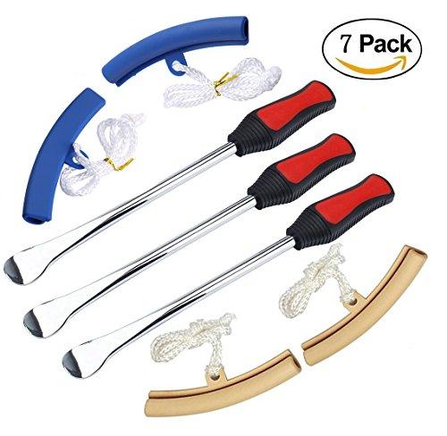 Dricar 3 Reifen Hebel Werkzeug Löffel + 4 Rad Felge Protektoren Tool Kit für Motorrad-Fahrrad-Reifen wechseln, entfernen(2 Blau + 2 Beige)