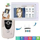 "MCJL 7""WiFi Wireless Porta videocitofono Sistema walkie-Talkie, 720p videotelefono Campanello Telecamera IP PIR Visione Notturna a infrarossi"