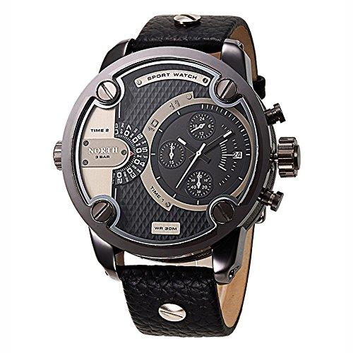 Mode Big Face Großes Gesicht Herrenuhren Quarzuhr Luxus Leder Uhrenarmband Kleine Dekorative Zifferblatt Wasserdicht Analog Lässigee Armbanduhren Für Herren, Gewehrfarbe
