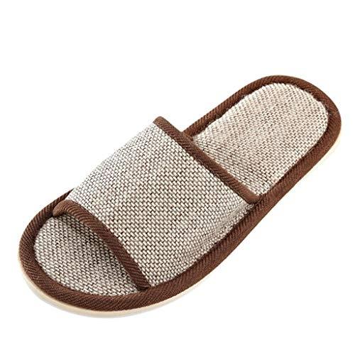 FNKDOR Schuhe Unisex Leinen Hausschuhe Zuhause rutschfest Pantoffeln Herren Damen Schlafzimmer Wohnzimmer Indoor Slipper Coffee 37 EU Tone Peep Toe Slingback Sandal