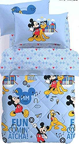 Caleffi Steppdecke für französisches Bett, Gewicht Winter, original Disney Art. Mickey Mouse 75949 aus Reiner Baumwolle cm. 215X260 -