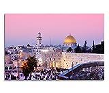 120x80cm Leinwandbild auf Keilrahmen Israel Jerusalem Dom Stadt Menschen Wandbild auf Leinwand als Panorama