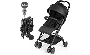 Katze-Tatze Baby Stroller Folding Pushchair Forward Facing Pram Travel System with Mosquito Lightweight Stroller Infant Travel Buggy from Birth Suitable for Airplane, Black