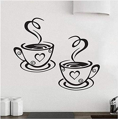 2 patrón de taza de café pegatinas de pared hogar cocina restaurante café té taza de café etiqueta de la pared decoración de la pared