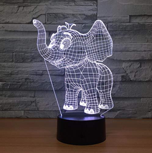 Luce Notturna 3D Illusione Ottica Led Lampada Elefantino Interruttore Tattile Cambio 7 Colori Lampada Da Letto Per Camera Da Letto Per Bambini, Regali Per Feste Di Compleanno Per Bambini